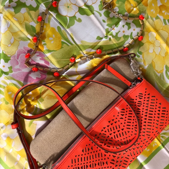 Stella & Dot Handbags - Crossbody-Orange and raffia-linen perforated bag